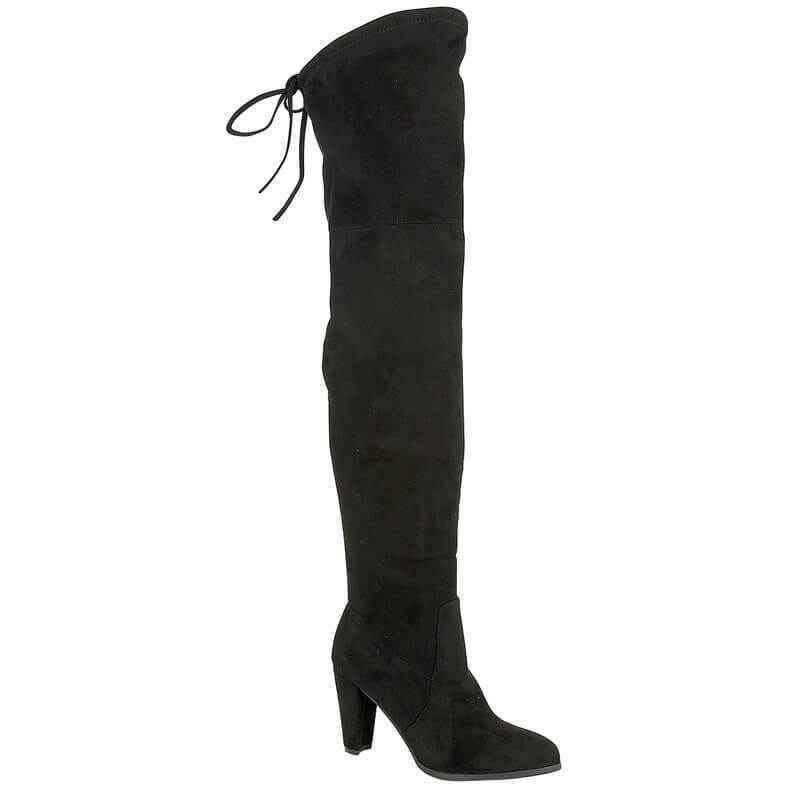 Womens New Black Faux Suede Thigh High Casual Formal Clubbing Party Boots UK 3-8