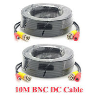 10m 33ft Bnc Video Power Cable Wire Cord For Cctv Security Camera Dvr Lot 2 Pcs