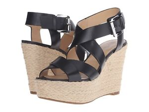 67c3355d2ad Michael Kors Celia Wedge Women s Leather Black Silver(GP16A)Size US ...