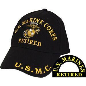 United States Marine Corps Retired Black Hat Cap USMC