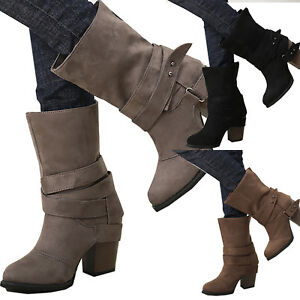 Womens-Ladies-Ankle-Boots-Low-Mid-Calf-Block-Heels-Chelsea-Buckle-Shoes-Casual