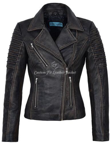con vera da da donna nero strass Giacca 9334 motociclista in nera sfoderata fashion pelle dvftnnqw