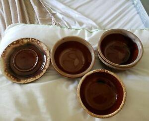 McCoy Pottery Set Of 7 BROWN DRIP Glaze Soup Cereal Bowls & 2 Saucers USA