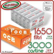 3000 Cartine OCB ORANGE CORTE + 1650 Filtri POP FILTERS SLIM 6mm RUVIDI no rizla