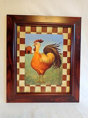 "ROOSTER PRINT 14"" X 12"" Red White Border Wood Frame Kitchen Wall Decor"