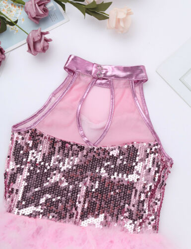 iiniim Kids Girls Sequins Hip-Hop Latin Jazz Dance Leotard Ballet Street Dancing Stage Performance Costume