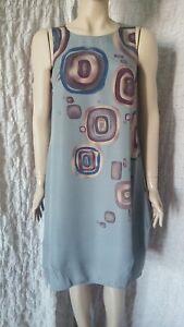 573905da8c Rutzou 100% silk grey A line circle printed sleeveless dress size 38 ...
