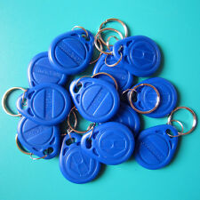 RFID 125KHz EM4100 Proximity ID Token Tag Key Keyfobs Chain Blue-100pcs