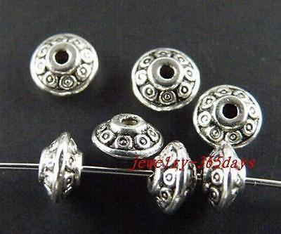 100 Tibetan Silver,Gold,Bronze Tone Bicone Spacer Beads 7x4mm B180 ZN663