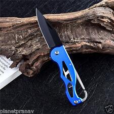 Mini Peeler Outdoor Survival Folding Pocket Knife | Blue with Black Blade