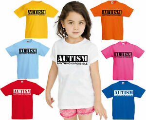 L-039-autisme-tout-est-possible-Kids-T-shirt-Autism-Awareness-Egotist-Cadeau-Tee-Top