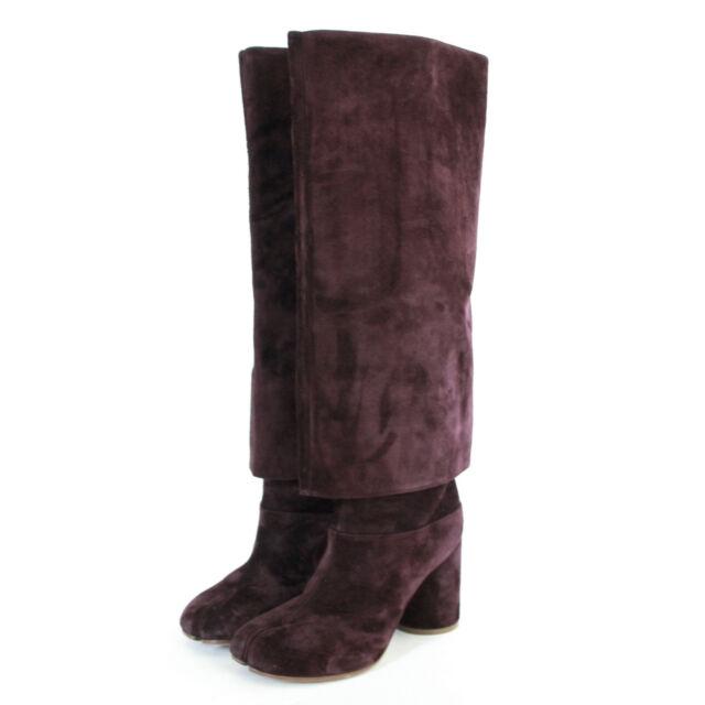 51a2731adb2 MAISON MARTIN MARGIELA tabi split toe suede foldover knee high boots 40 NEW