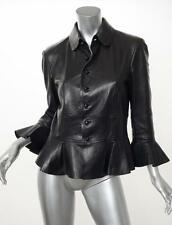 RALPH LAUREN PURPLE LABEL Black Leather Long-Sleeve Blazer Jacket Coat 12