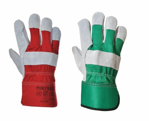 12 Pairs Portwest A220 Premium Chrome Rigger Gloves Red & Green