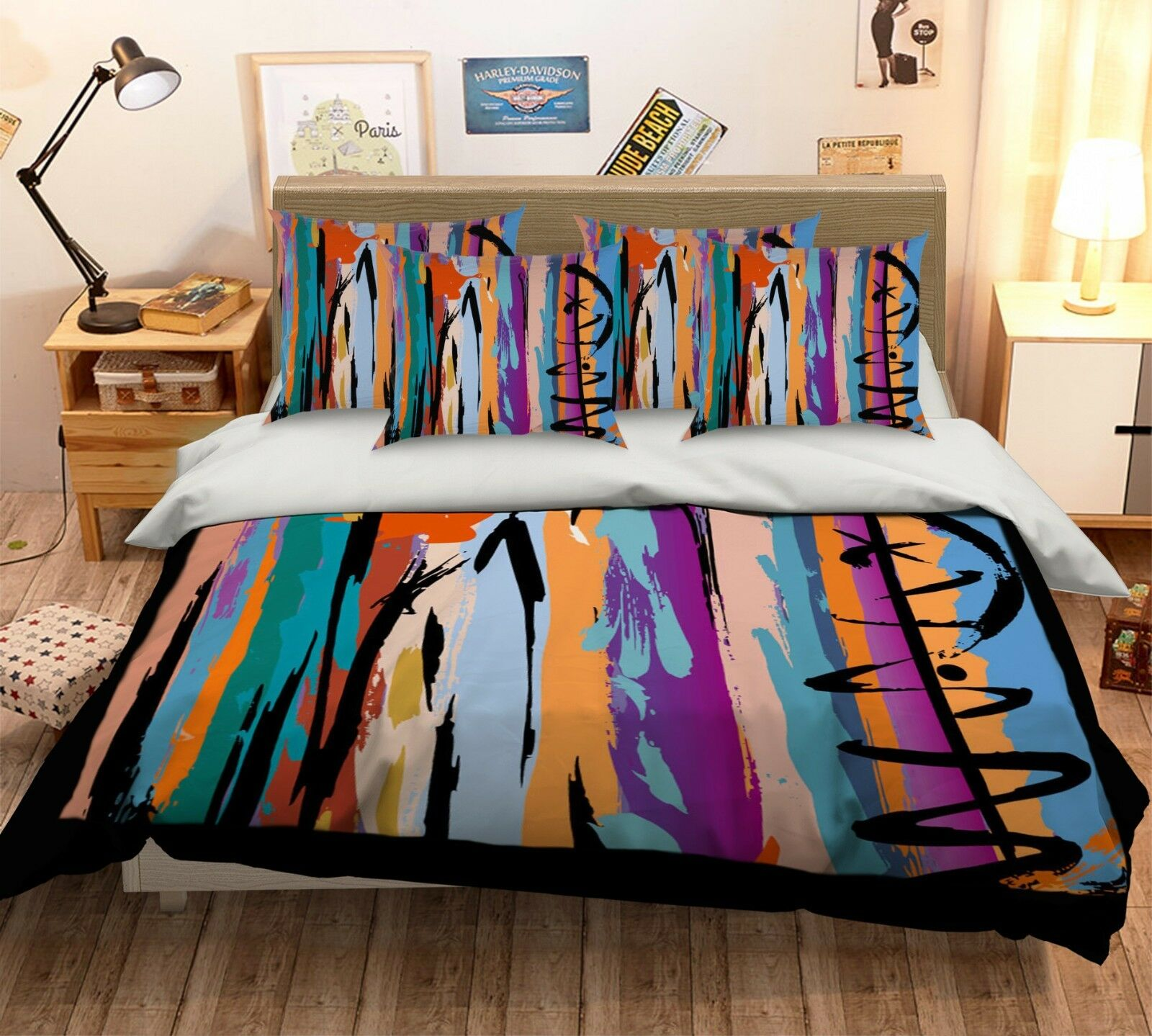 3D Farbe Lines 1 Bed Pillowcases Quilt Duvet Cover Set Single Queen King Größe AU