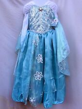 Disney Store Frozen Elsa Deluxe Dress Costume Gown Size 7/8 Halloween Princess
