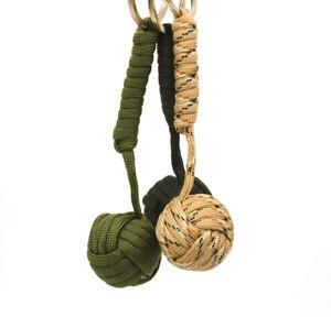 Outdoor Paracord Keychain Lanyard Hiking Survival Key Ring Cord Wood Ball Keytag