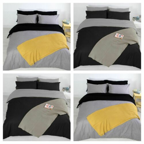 Reversible Plain Duvet Cover with Pillowcase Grey Black Single Double King 3Pc