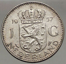 1957 Netherlands Kingdom Queen JULIANA 1 Gulden Authentic Silver Coin i56617