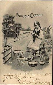 Frohe-Ostern-Glueckwunsch-AK-1905-Osterhase-Kleines-Maedchen-Ostereier-Easter