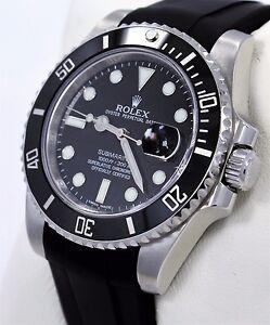 a968717d92e Image is loading Rolex-Submariner-116610-Date-Ceramic-Bezel-RUBBER-B-