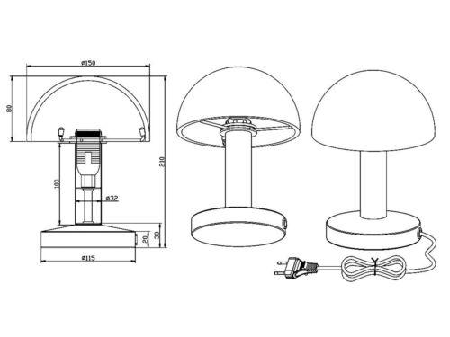 Glasschirm in Wischoptik TOUCH ME Funktion Dimmer Kleine Tischlampe aus Metall
