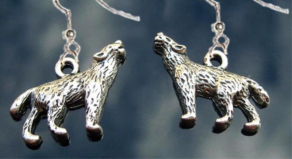Funky WEREWOLF WOLF HOWLING EARRINGS Gothic Canine Animal PETA Costume Jewelry