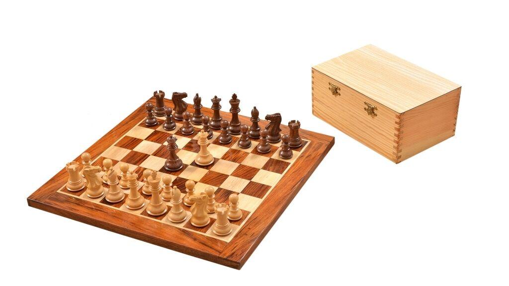 Staunton Chess Set in Sheesham & Box Wood with Wooden Board & Storage Box- C0598