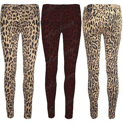 Motiviert Womens Super Skinny Fit Animal Pants Ladies Leopard Trousers Jeans Jeggings Weniger Teuer