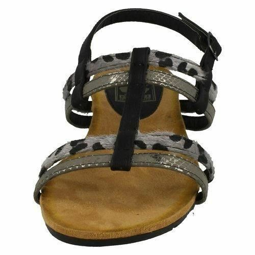 R3A Down to Earth F1R0429 Ladies Black PU Sandals UK Sizes 3-8