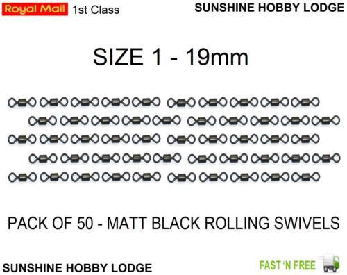 Pêche émerillons Noir Mat Enrobé de téflon anti reflets 19 mm Rolling Swivel Taille 1