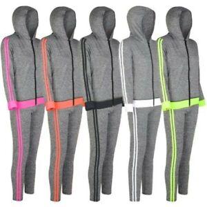 Damen-Kapuze-Reissverschluss-Jacke-Leggings-Sport-Set-Active-2-Seite-Yoga-Outfit