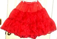 Cb5 Maggie Tang -new- Red Full Ribboned 2-layer Shiny Square Dance Petticoat