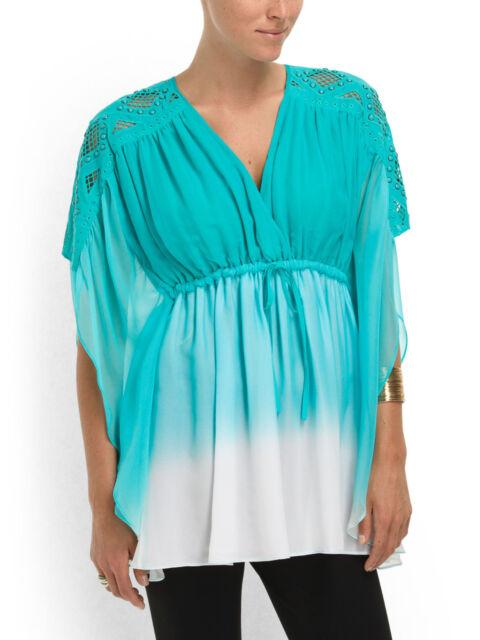 Catherine Malandrino Blouse Silk Kaftan Appletini Dip Dye Turquoise-NWT-RP: $395
