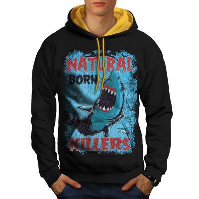 MüHsam Wellcoda Born Killer Shark Mens Contrast Hoodie, Shark Casual Jumper Mit Den Modernsten GeräTen Und Techniken