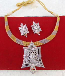 American-Diamante-Jewelry-Ethnic-UK-Indian-Fashion-Party-Necklace-Earrings-Set
