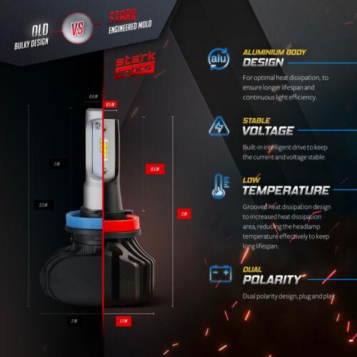 H1 Stark NS 80W 9000LM Fanless LED Kit White 6K Headlight High Beam Only Bulbs