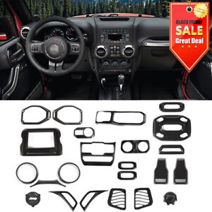 24Pcs Interior Accessories Cover Trim Kit Carbon Fiber For Jeep Wrangler JL JT