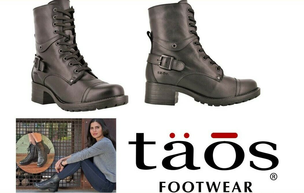 Taos Shoes Leather lace up Boots with zip Taos Footwear Crave Black on black