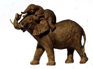 Elefant-Baby-Tierfigur-Skulptur-Elefanten-Deko-Garten-Tier-Figur-Afrika-Statue