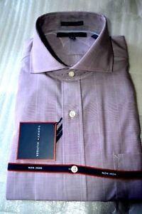 $80 NWT TOMMY HILFIGER 16 17 Wine Glen plaid Non Iron PIMA cotton dress shirt