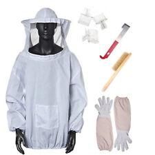 8 Beekeeper Suit Bee Jacket Smock Veil Gloves Bee Hive Brush J Hook Clips Set