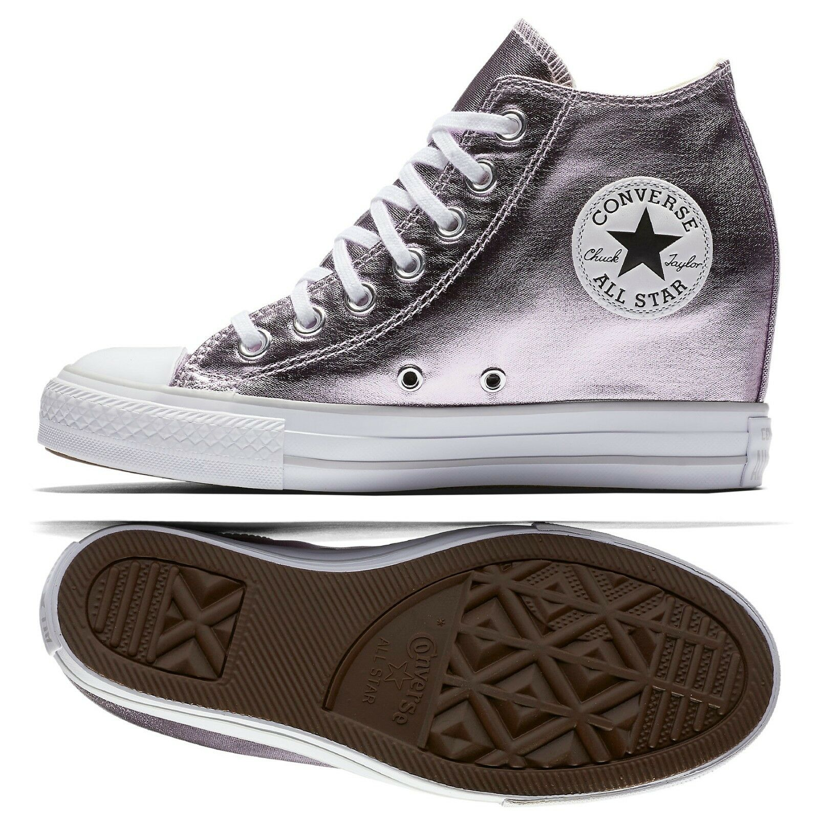 373074064b6 Converse Chuck Taylor Taylor Taylor All Star Lux Metálico Mid Top 556779 C  Púrpura Zapatos para