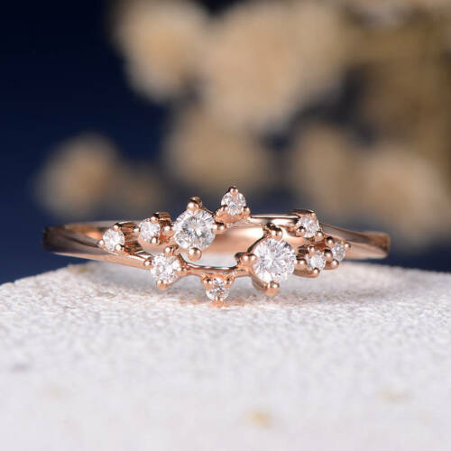 0.30 Ct Round Sim-Diamond Floral Cluster Twig Engagement Ring 14K Rose Gold Fn