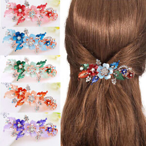Styling-Flower-Barrettes-Resin-Floral-Hair-Clip-Crystal-Hairpin-Headwear-RO