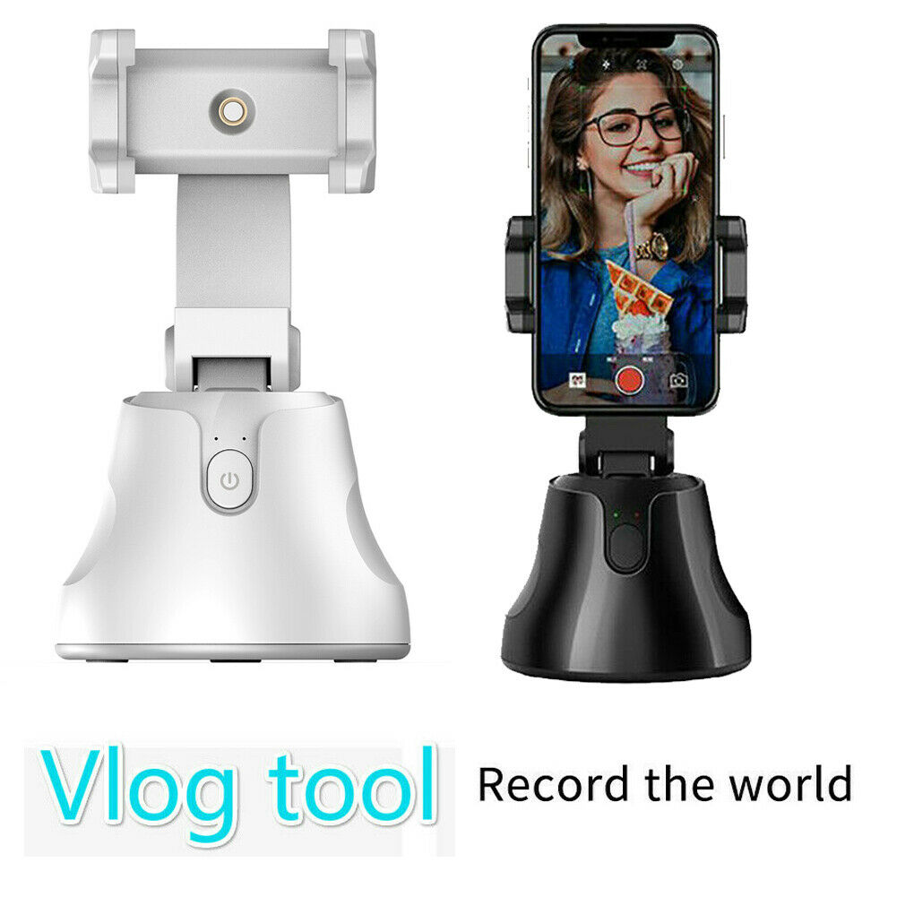 Smart Portable Selfie Stick,360/°Rotation Auto Face Object Tracking Camera Tripod Holder Smart Shooting Cell Phone Camera Mount Vlog Shooting Smartphone Mount Holder for All Phones
