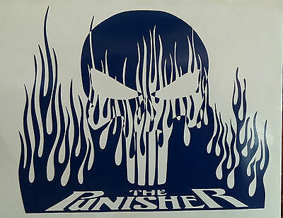 PUNISHER IN FLAMES VINYL DECAL HOOD SIDE FOR CAR TRUCK