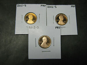 2011 AND 2012 AND 2013 Proof Lincoln Cent Penny IN STOCK THREE COINS