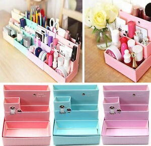 Image is loading Cosmetic-Organizer-Clear-DIY-Makeup-Drawers-Holder-Case-