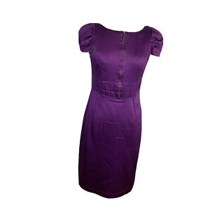 Cue Womens Size 8 A - Line Wiggle Midi Dress Cap Sleeves
